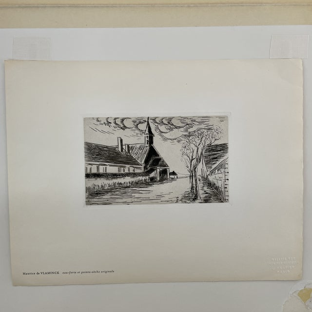 """Etching 1927 """"L'Eglise"""" Village Scene Drypoint Etching Attributed to Maurice De Vlaminck For Sale - Image 7 of 7"""