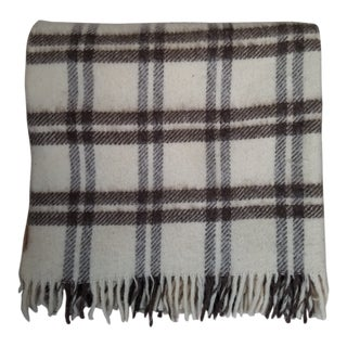 Vintage Brazilian Alpaca Wool Plaid Throw Blanket For Sale