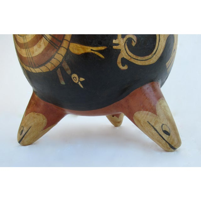 C.1935-50s Vintage Mexican Hand-Made Terra-Cotta Bulbous Calabash Olla, 3-Legged Vessel For Sale - Image 11 of 13