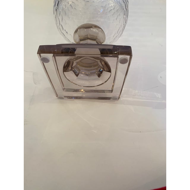 Cylindrical Cut Glass Hurricanes Candle Holders -A Pair For Sale - Image 9 of 10