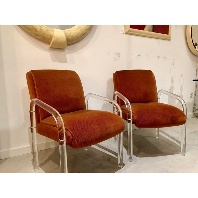 Boho Chic Lucite Armchairs by Lion in Frost. America, C. 1970s - a Pair For Sale - Image 3 of 13