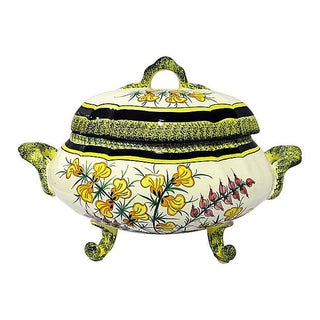 Quimper Vintage 1940s Floral Faience Tureen For Sale