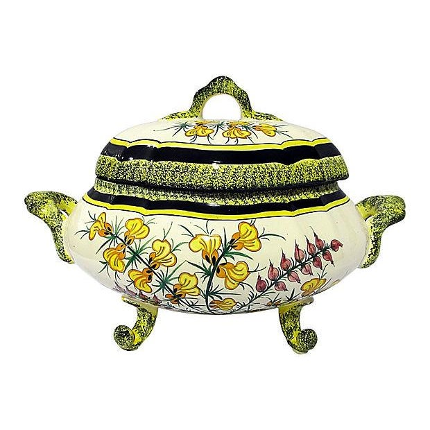 quimper vintage 1940s floral faience tureen chairish. Black Bedroom Furniture Sets. Home Design Ideas