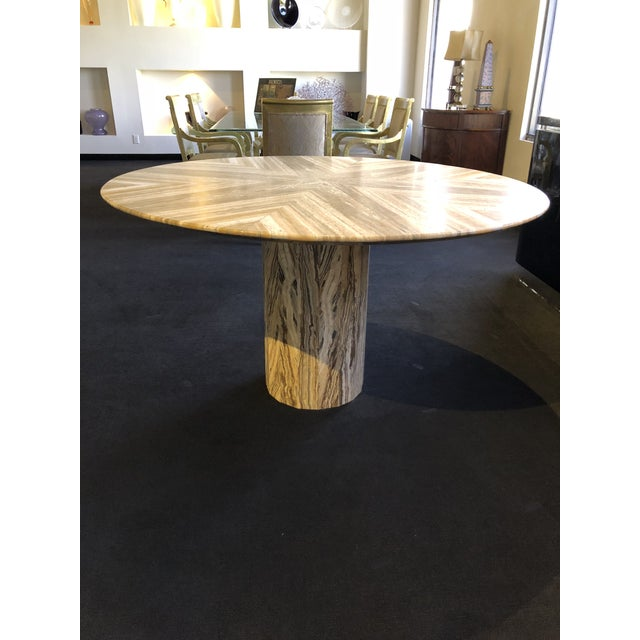 1980s Contemporary Italian Travertine Stone Table For Sale - Image 4 of 11