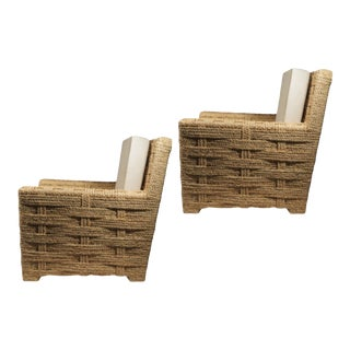 Audoux Minet Pair of Woven Rope Lounge Comfy Chairs For Sale