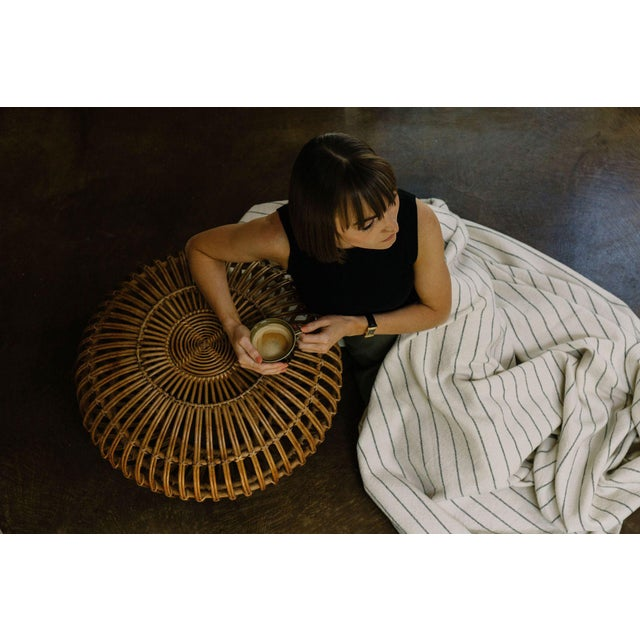 2020s Cotton Pinstripe Throw in Midnight For Sale - Image 5 of 6