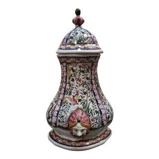 Mid 20th Century Portuguese Ceramica Conimbriga Porcelain Floral Motifs Lavabo For Sale
