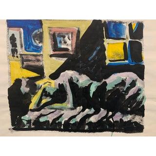 """Donald Stacy """"Man in Door"""" C.1950s Gouache Mid Century Painting For Sale"""