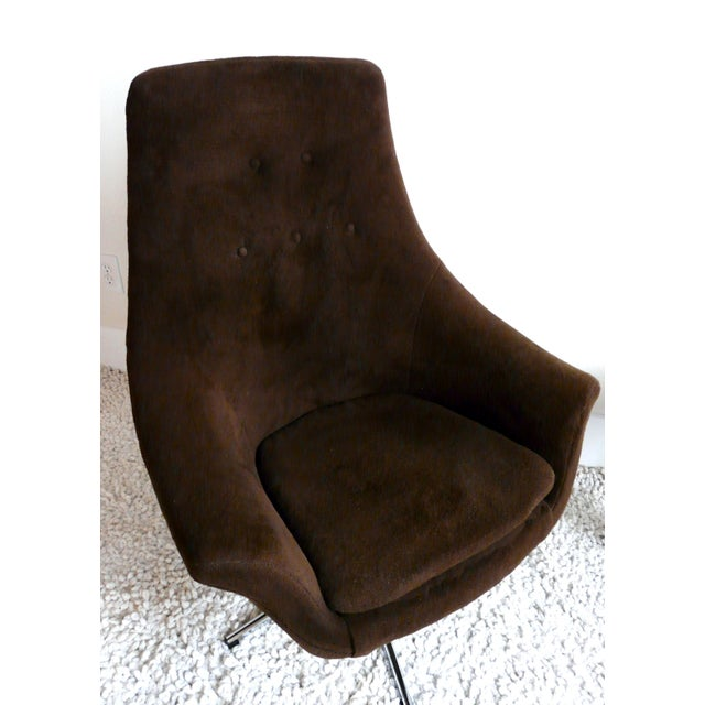 Overman Style Mid Century Brown Amp Chrome Egg Chair Chairish