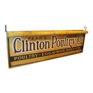 Antique Double Sided Light Up Clinton Poultry Co. Sign
