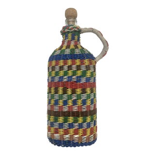 Vintage Multicolored Wrapped Bottle For Sale