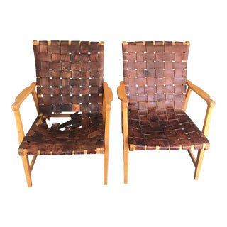 Mid-Century Modern Elias Svedberg Woven Leather and Birch Armchairs - Pair