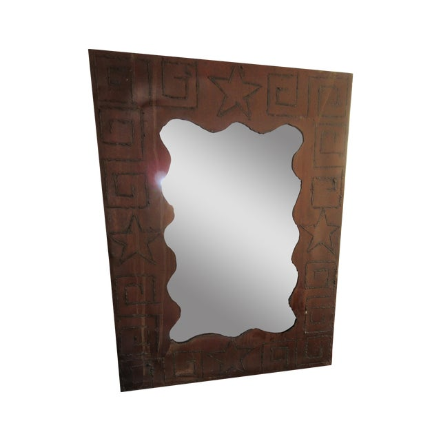Rustic Brutalist Steel & Iron Mirror - Image 1 of 6