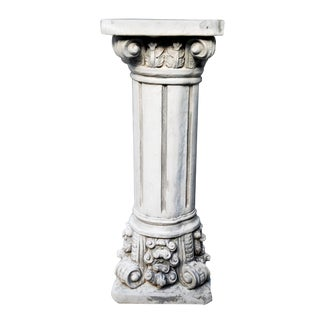 Vintage Greek Corinthian Cement Display Pedestal/Plant Stand For Sale