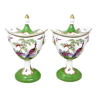 Vintage Chelsea House Chinoiserie Oval Urns For Sale