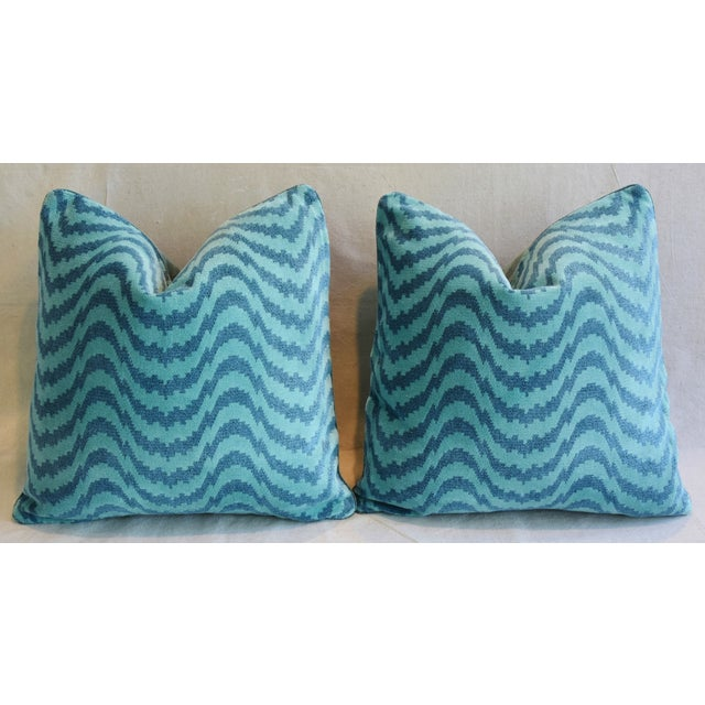 """Early 21st Century Schumacher Velvet & Linen Feather/Down Pillows 21"""" Square - Pair For Sale - Image 5 of 13"""