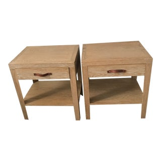 Cerused Oak Wood Side Tables - A Pair