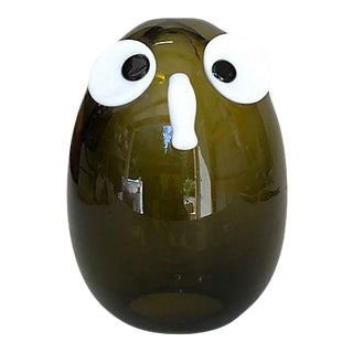 Mid Century Modern Hand-Clown Art Glass Owl For Sale