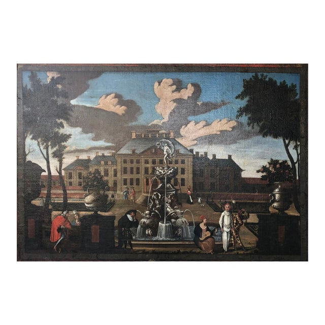 """17th Century Dutch School """"Palace Courtyard"""" Painting For Sale - Image 4 of 11"""