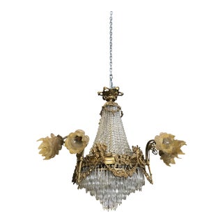 Rococo Style French Style Crystal Tear Bronze Chandelier For Sale