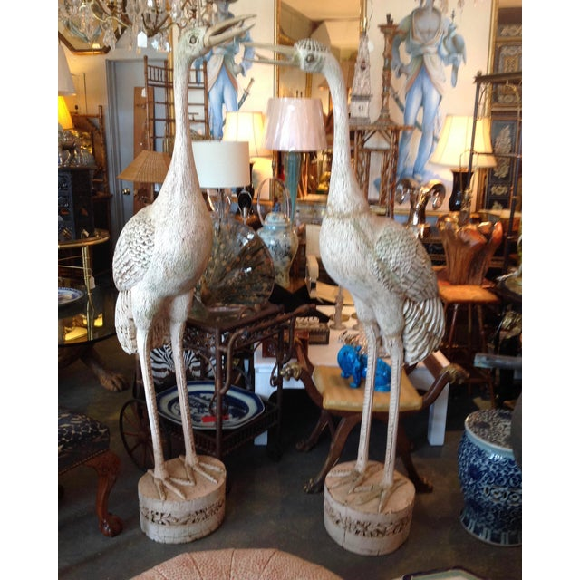 Grandly Scaled Pair of Vintage Carved Cranes For Sale - Image 14 of 14