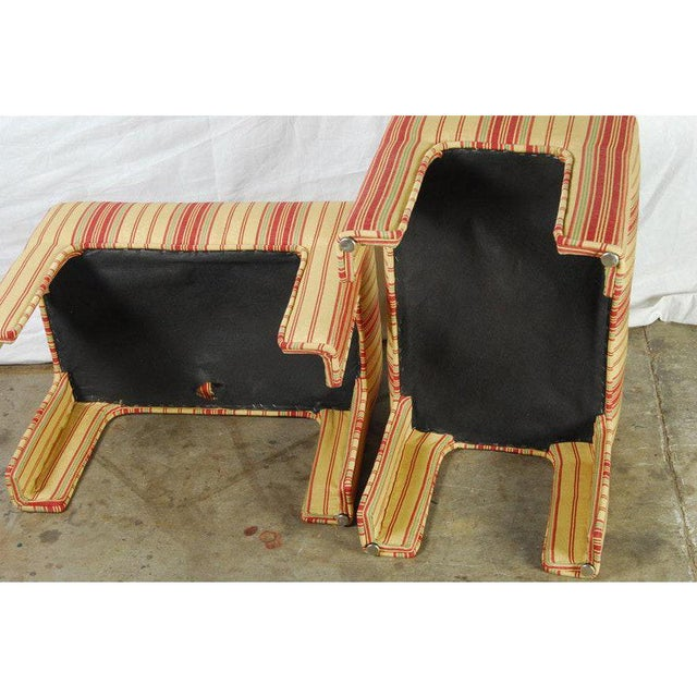 Pair of Yellow, Red, and Green Stripe Custom Upholstered Benches For Sale In New York - Image 6 of 7