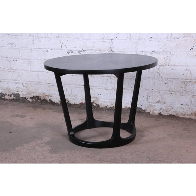 Wood Ebonized Sculpted Walnut Side Table by Lane For Sale - Image 7 of 7
