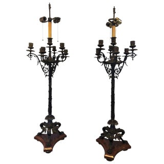 Pair of Empire 19th Century Bronze and Rouge Marble Base Candelabra Lamps For Sale