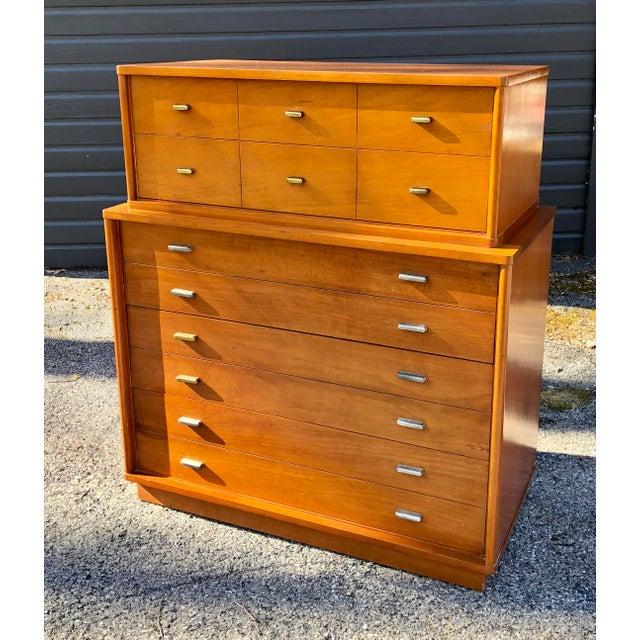 1960s Mid Century Modern Drexel Mahogany High Boy Dresser For Sale - Image 10 of 10