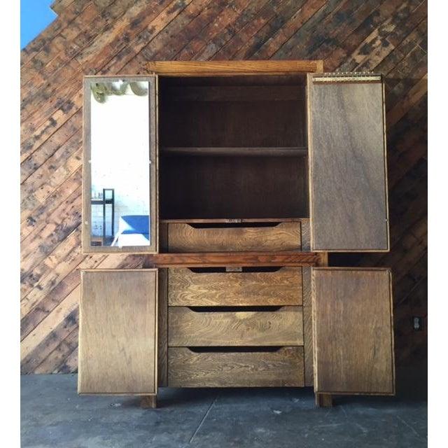 Vintage Wood and Cork Brutalist Armoire - Image 6 of 9