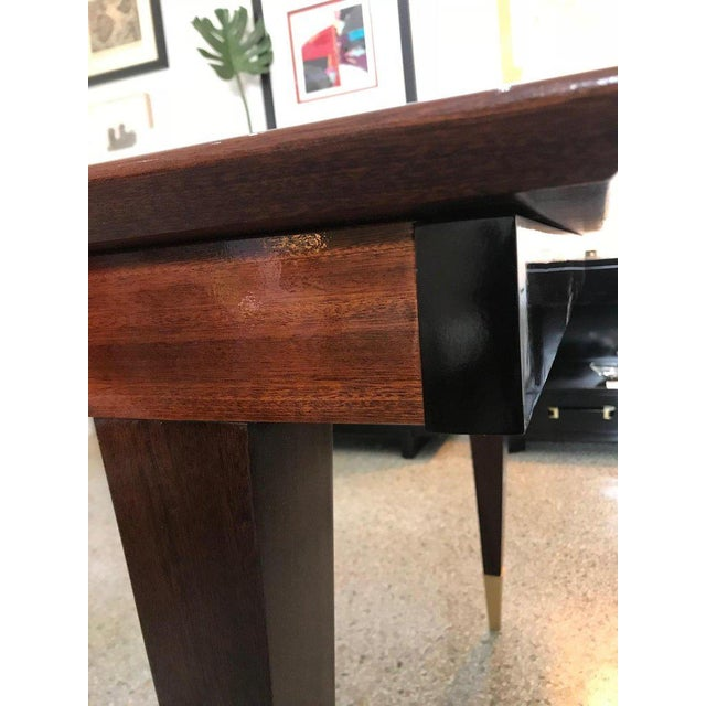 Mid-Century Modern Dining Room Table Lacquered Extension Leaves For Sale - Image 10 of 12