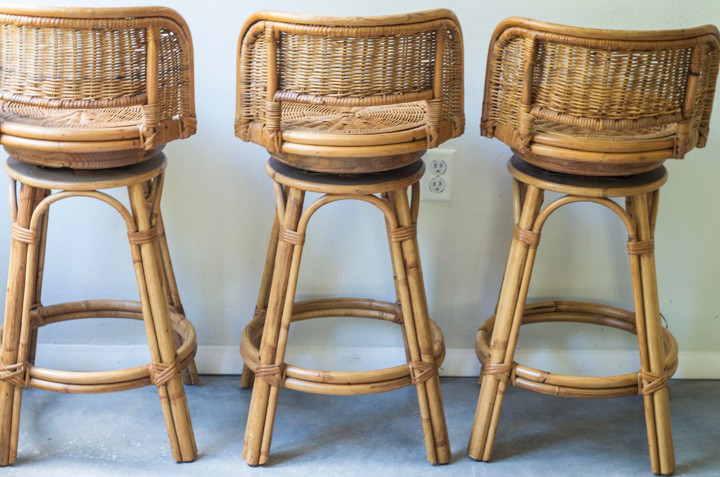 Contemporary Vintage Mid Century Rattan Bamboo Tiki Bar Stools   Set Of 3  For Sale