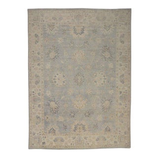 New Transitional Oushak Design Rug With Coastal Colors and Hampton's Chic Style, 10' X 13'8 For Sale