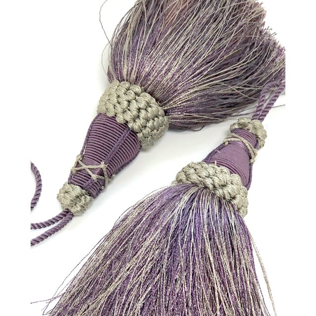 Key Tassels in Amethyst and Gray With Ruche Trim - a Pair For Sale - Image 11 of 12