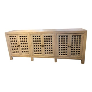 Asian Modern Whitewashed Elm Lattice Cabinet