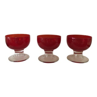 Antique Red Glass Goblets - Set of 3 For Sale