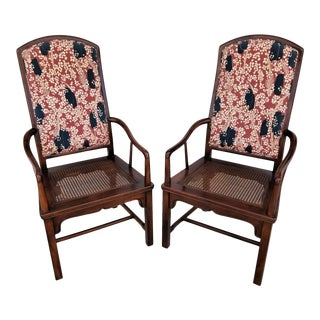 Henredon Cane Seat Upholstered Back Asian Mahogany Dining Accent Chairs-Set of 2 For Sale