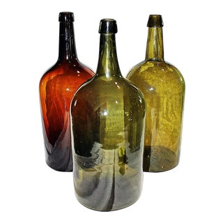 Antique Demijohn Glass Bottles - Set of 3