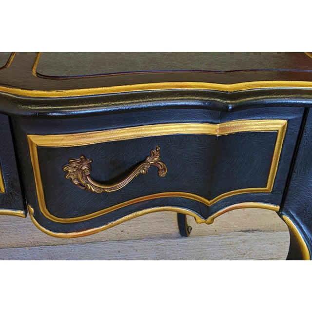 Vintage Louis XVI Style Bronze Mounted & Faux Marble Painted Top Blue Desk For Sale - Image 10 of 13