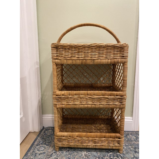 Large Palm Beach Wicker 3-Tier Tall Basket With Shelving For Sale - Image 10 of 10