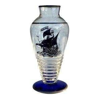 Antique Art Deco Cobalt Blue Glass Sterling Silver Ship Overlay Vase For Sale