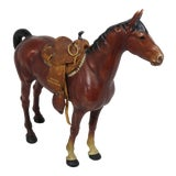 Image of 1930s Cast Iron Horse & Leather Saddle Doorstop For Sale
