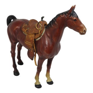 1930s Cast Iron Horse & Leather Saddle Doorstop For Sale