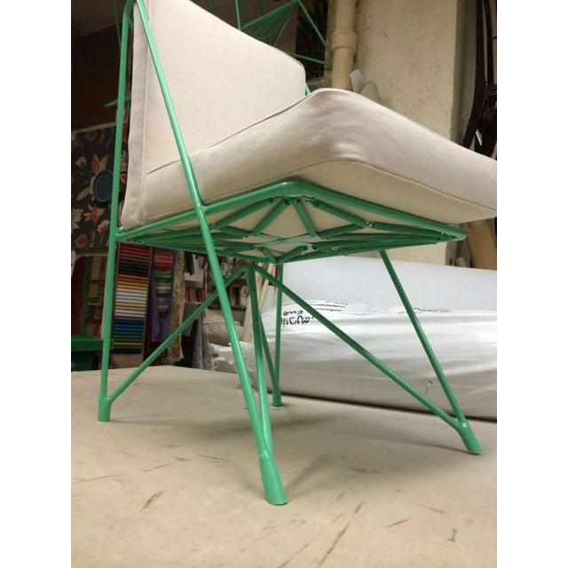Contemporary Raoul Guys Rare Set of Four Aqua Metal Chairs, Newly Recovered in Canvas Cloth For Sale - Image 3 of 8