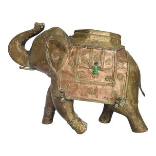 Vintage Indian Ornate Wood Carved Elephant Copper Brass Bronze Ornaments Ceremony