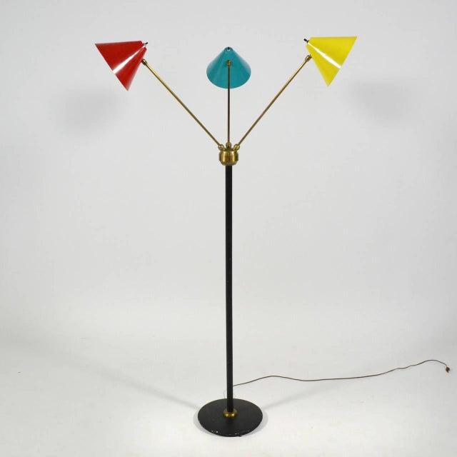 Mid-Century Modern Italian Three-Arm Floor Lamp For Sale - Image 3 of 11