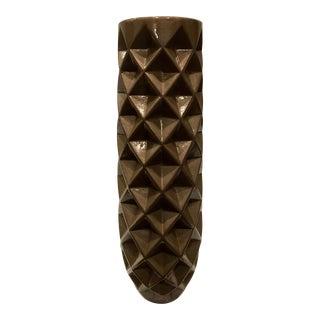 Geometric Taupe Ceramic Decorative Vase