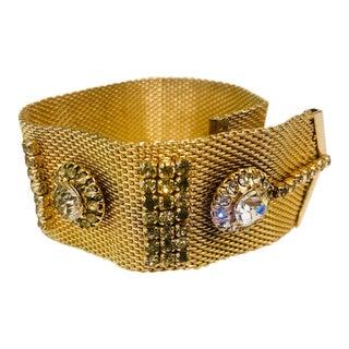 1950s Art Deco Look Gold Mesh Buckle Bracelet For Sale