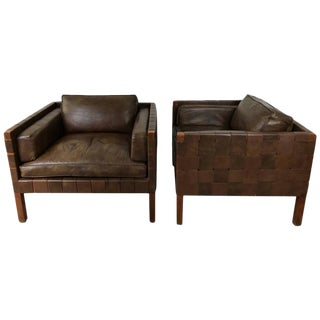Stunning Pair of Woven Leather Danish Club Chairs