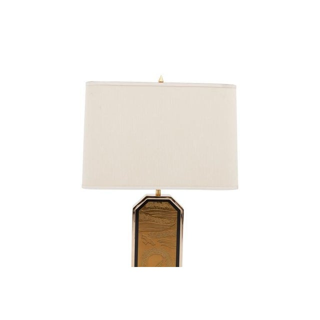 Gold-Plated Brass Etched Table Lamp For Sale - Image 6 of 10